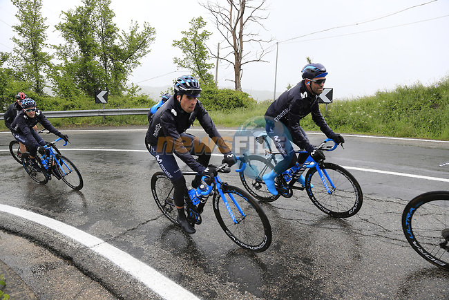 The peloton including Mikel Landa (ESP) Movistar Team climb over the Appenines and into Tuscany during a wet Stage 2 of the 2019 Giro d'Italia, running 205km from Bologna to Fucecchio, Italy. 12th May 2019.<br /> Picture: Eoin Clarke | Cyclefile<br /> <br /> All photos usage must carry mandatory copyright credit (© Cyclefile | Eoin Clarke)