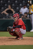 AZL Angels catcher Jeans Flores (62) during an Arizona League game against the AZL Athletics at Tempe Diablo Stadium on June 26, 2018 in Tempe, Arizona. The AZL Athletics defeated the AZL Angels 7-1. (Zachary Lucy/Four Seam Images)