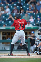 Ke'Bryan Hayes (24) of the Indianapolis Indians at bat against the Charlotte Knights at BB&T BallPark on April 27, 2019 in Charlotte, North Carolina. The Indians defeated the Knights 8-4. (Brian Westerholt/Four Seam Images)