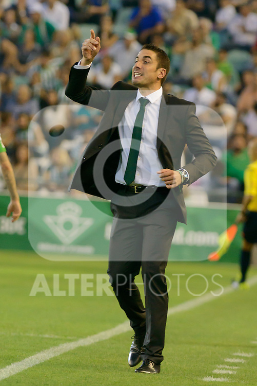 coacher Julio Velazques during the match between Real Betis and Recreativo de Huelva day 10 of the spanish Adelante League 2014-2015 014-2015 played at the Benito Villamarin stadium of Seville. (PHOTO: CARLOS BOUZA / BOUZA PRESS / ALTER PHOTOS)