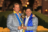 Winning captain Jose Maria Olazabal and Peter Hanson with the Ryder Cup at the end of Sunday's singles matches at the Ryder Cup 2012, Medinah Country Club,Medinah, Illinois,USA 30/09/2012.Picture: Fran Caffrey/www.golffile.ie.