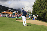 Matthew Fitzpatrick (ENG) plays his 2nd shot on the 18th hole during Sunday's Final Round of the 2017 Omega European Masters held at Golf Club Crans-Sur-Sierre, Crans Montana, Switzerland. 10th September 2017.<br /> Picture: Eoin Clarke | Golffile<br /> <br /> <br /> All photos usage must carry mandatory copyright credit (&copy; Golffile | Eoin Clarke)