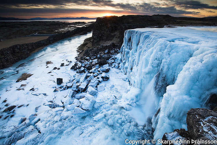 Waterfall Öxarárfoss in Þingvellir National Park, south-west Iceland