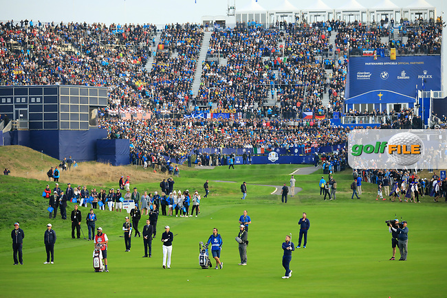 General view 1st hole at the Ryder Cup, Le Golf National, Paris, France. 27/09/2018.<br /> Picture Phil Inglis / Golffile.ie<br /> <br /> All photo usage must carry mandatory copyright credit (© Golffile | Phil Inglis)