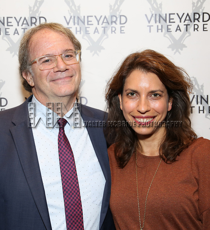 "Doug Aibel and Sarah Stern during the Opening Night Celebration for ""Good Grief"" at the Vineyard Theatre on October 28, 2018 in New York City."