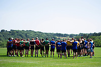 The Bath Rugby squad huddle together. Bath Rugby pre-season training on July 2, 2018 at Farleigh House in Bath, England. Photo by: Patrick Khachfe / Onside Images