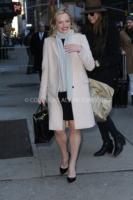 WWW.ACEPIXS.COM . . . . . <br /> February 11, 2015 New York City<br /> <br /> Elisabeth Moss arrives to tape an appearance on the Late Show with David Letterman on February 11, 2015 in New York City.<br /> <br /> Please byline: Kristin Callahan...ACEPIXS.COM<br /> Tel: (212) 243 8787 or (646) 769 0430<br /> e-mail: info@acepixs.com<br /> web: http://www.acepixs.com