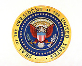 Washington, DC - December 2, 2009 -- Close-up of the Presidential Seal that is over the door to the Blue Room in the Cross Hall of the White House in Washington, D.C. on Wednesday, December 2, 2009..Credit: Ron Sachs / CNP.(RESTRICTION: NO New York or New Jersey Newspapers or newspapers within a 75 mile radius of New York City)