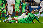 Luka Jovic of Real Madrid and Rodrigo Tarin of CD Leganes during La Liga match between Real Madrid and CD Leganes at Santiago Bernabeu Stadium in Madrid, Spain. October 30, 2019. (ALTERPHOTOS/A. Perez Meca)