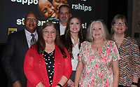 NWA Democrat-Gazette/CARIN SCHOPPMEYER Naccaman Williams (from left), Donna Osborn, Keri and Mark Ledbetter, Michelle Owens and Kathy Smith attend the Single Parent Scholarship Fund Corporate Luncheon on May 1 at the Embassy Suites in Rogers.