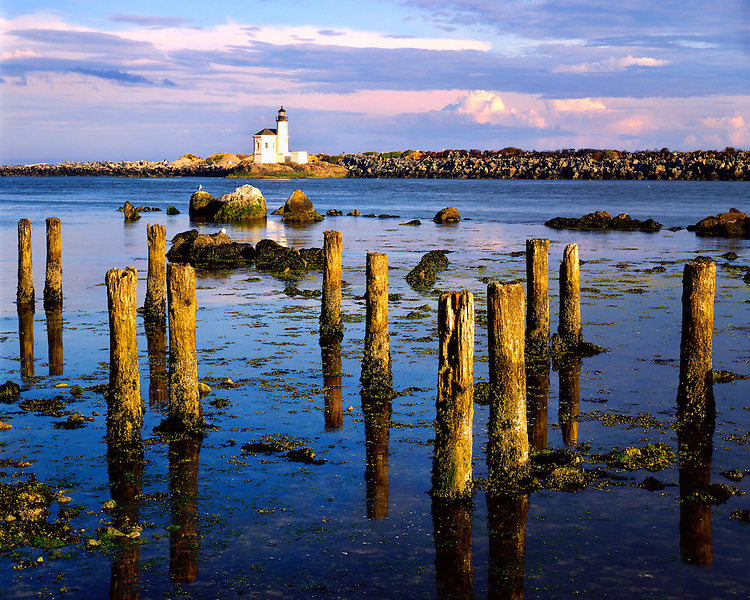 Morning light on the Coquille River Ligthouse on the Pacific Ocean; Bandon Beach, OR