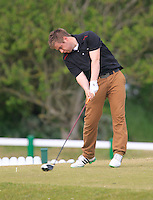 Gary Collins (Rosslare ) on the 1st tee during the 3rd round of the East of Ireland Amateur Open Championship 2013 Co Louth Golf club 3/6/13<br /> Picture:  Thos Caffrey / www.golffile.ie