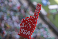 United States Men's National team fan holds up a foam hand at Azteca Stadium. The United States Men's National Team played Mexico in a CONCACAF World Cup Qualifier match at Azteca Stadium in, Mexico City, Mexico on Wednesday, August 12, 2009.