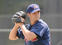 June 19, 2008: RHP Casey Hodges (34) of the Danville Braves, rookie Appalachian League affiliate of the Atlanta Braves, prior to a game against the Burlington Royals at Dan Daniel Memorial Park in Danville, Va. Photo by:  Tom Priddy/Four Seam Images