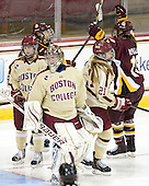 Emily Pfalzer (BC - 14), ?, Megan Miller (BC - 32), Lexi Bender (BC - 21), Jenna McParland (UMD - 19) -  - The visiting University of Minnesota Duluth Bulldogs defeated the Boston College Eagles 3-2 on Thursday, October 25, 2012, at Kelley Rink in Conte Forum in Chestnut Hill, Massachusetts.