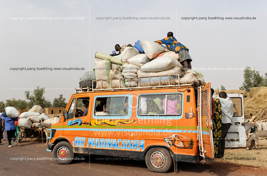 MALI Mopti , people and goods in old Mercedes Benz bus which works as a public transport in villages