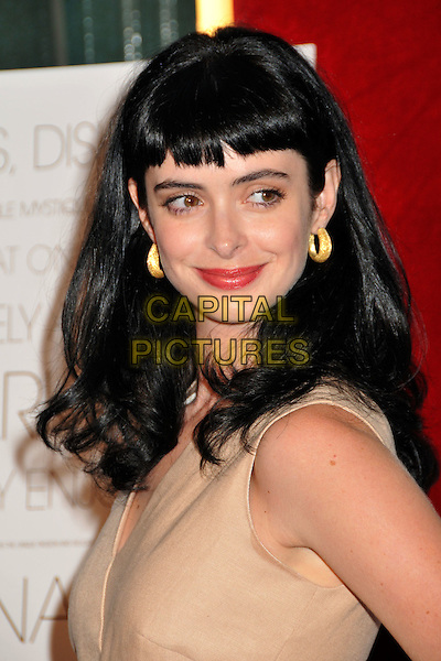 "KRYSTEN RITTER.""The September Issue"" Los Angeles Special Screening held at the LA County Museum of Art, Los Angeles, California, USA..September 8th, 2009.headshot portrait red lipstick earrings  sleeveless beige cream gold fringe bangs .CAP/ADM/BP.©Byron Purvis/AdMedia/Capital Pictures."