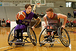 MARSHALL, MN - MARCH 17:  Collin Evans #24 from the University Wisconsin Whitwater tries to drive past Sean Burns #23 from Alabama during their championship game at the 2018 National Intercollegiate Wheelchair Basketball Tournament at Southwest Minnesota State University in Marshall, MN. (Photo by Dave Eggen/Inertia)