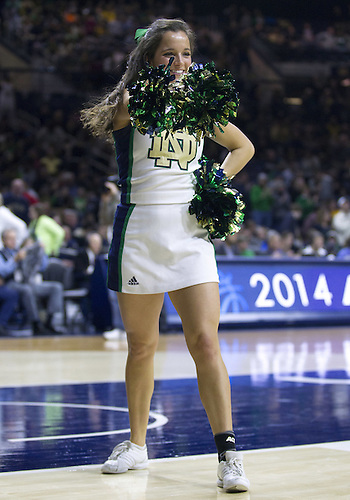 March 01, 2014:  Notre Dame cheerleader Erin Garfield performs during NCAA Basketball game action between the Notre Dame Fighting Irish and the Pittsburgh Panthers at Purcell Pavilion at the Joyce Center in South Bend, Indiana.  Pittsburgh defeated Notre Dame 85-81 in overtime.