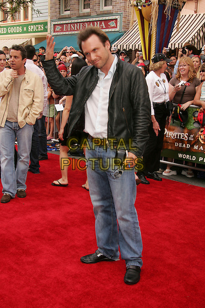 """CHRISTIAN SLATER.The """"Pirates of the Caribbean 2: Dead Man's Chest"""" World Premiere - Red Carpet, Anaheim, California, USA,.24th June 2006..full length waving hand gesture black leather jacket jeans.Ref: ADM/RE.www.capitalpictures.com.sales@capitalpictures.com.©Russ Elliot/AdMedia/Capital Pictures."""