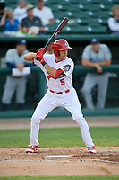 Peoria Chiefs left fielder Dylan Carlson (5) at bat during a game against the West Michigan Whitecaps on May 9, 2017 at Dozer Park in Peoria, Illinois.  Peoria defeated West Michigan 3-1.  (Mike Janes/Four Seam Images)