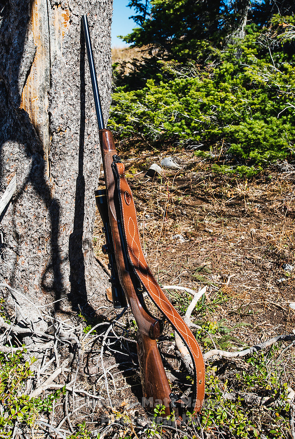 A rifle while hunting on Greyback Ridge in the Hoeback Drainage of Wyoming Region H, outside of Alpine, Wyoming. Photos from Sunday, September 20 - Friday, September 25, 2015.<br /> <br /> Photo by Matt Nager