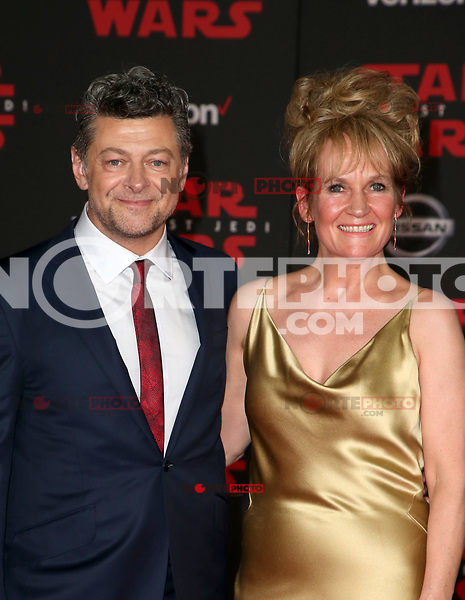 LOS ANGELES, CA - DECEMBER 9: Andy Serkis, Lorraine Ashbourne, at Premiere Of Disney Pictures And Lucasfilm's 'Star Wars: The Last Jedi' at Shrine Auditorium in Los Angeles, California on December 9, 2017. Credit: Faye Sadou/MediaPunch /NortePhoto.com NORTEPHOTOMEXICO