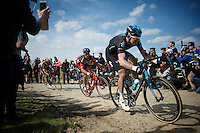 Luke Row (GBR/SKY) over sector 6A: Bourghelles &agrave; Wannehain (1.1km)<br /> <br /> 113th Paris-Roubaix 2015