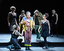 London, UK. 03.02.2016. Simon McBurney returns to ENO to direct the first revival of his production of Mozart's THE MAGIC FLUTE. Picture shows: Peter Coleman-Wright (Papageno), Allan Clayton (Tamino) and the company. Photograph © Jane Hobson.