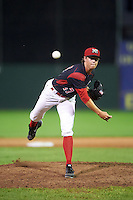 Batavia Muckdogs relief pitcher Dustin Beggs (47) during a game against the Hudson Valley Renegades on August 1, 2016 at Dwyer Stadium in Batavia, New York.  Hudson Valley defeated Batavia 5-1. (Mike Janes/Four Seam Images)