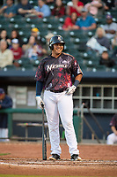 Northwest Arkansas Naturals infielder Samir Duenez (13) laughs as he steps to the plate on May 4, 2019, at Arvest Ballpark in Springdale, Arkansas. (Jason Ivester/Four Seam Images)