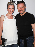 NORTH HOLLYWOOD, CA, USA - MAY 27: Jane Fallon, Ricky Gervais at the Television Academy screening of the Netflix series 'Derek' Season 2 premiere held at the Leonard H. Goldenson Theatre on May 27, 2014 in North Hollywood, California, United States. (Photo by Celebrity Monitor)
