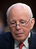 John Dean, former Counsel to the United States President Richard M. Nixon, testifies against the nomination of Judge Brett Kavanaugh before the US Senate Judiciary Committee on his nomination as Associate Justice of the US Supreme Court to replace the retiring Justice Anthony Kennedy on Capitol Hill in Washington, DC on Friday, September 7, 2018.<br /> Credit: Ron Sachs / CNP