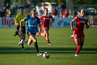 Kansas City, MO - Saturday May 27, 2017: Shea Groom, Line Sigvardsen-Jensen during a regular season National Women's Soccer League (NWSL) match between FC Kansas City and the Washington Spirit at Children's Mercy Victory Field.