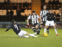 Tom Taiwo beats Stephen Mallan in the tackle in the St Mirren v Falkirk Scottish Professional Football League Ladbrokes Championship match played at the Paisley 2021 Stadium, Paisley on 1.3.16.