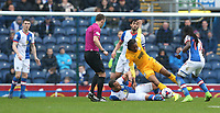 Preston North End's Daniel Johnson is tackled by Blackburn Rovers' Elliott Bennett<br /> <br /> Photographer Stephen White/CameraSport<br /> <br /> The EFL Sky Bet Championship - Blackburn Rovers v Preston North End - Saturday 18th March 2017 - Ewood Park - Blackburn<br /> <br /> World Copyright &copy; 2017 CameraSport. All rights reserved. 43 Linden Ave. Countesthorpe. Leicester. England. LE8 5PG - Tel: +44 (0) 116 277 4147 - admin@camerasport.com - www.camerasport.com