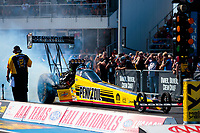 Oct 19, 2019; Ennis, TX, USA; NHRA top fuel driver Leah Pritchett during qualifying for the Fall Nationals at the Texas Motorplex. Mandatory Credit: Mark J. Rebilas-USA TODAY Sports