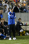 27 March 2004: Wizards head coach Bob Gansler yells out instructions to his team in the second half. Los Angeles Galaxy defeated the Kansas City Wizards 1-0 at SAS Stadium in Cary, NC in the final preseason game for both Major League Soccer teams as part of the Cary Pro Kickoff Invitational tournament..