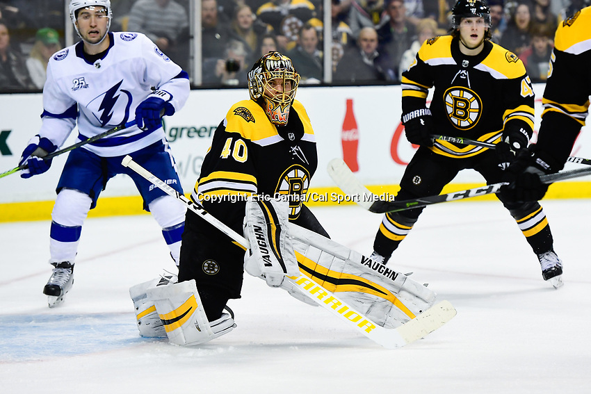March 29, 2018: Boston Bruins goaltender Tuukka Rask (40) watches the puck during the NHL game between the Tampa Bay Lightning and the Boston Bruins held at TD Garden, in Boston, Mass. Boston defeats Tampa Bay 4-2. Eric Canha/CSM