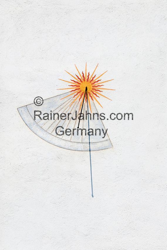 CHE, Schweiz, Kanton Bern, Berner Oberland, Spiez: Sonnenuhr am Schloss Spiez | CHE, Switzerland, Bern Canton, Bernese Oberland, Spiez: sundial at castle Spiez