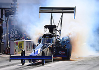 Sept. 14, 2012; Concord, NC, USA: NHRA top fuel dragster driver Pat Dakin during qualifying for the O'Reilly Auto Parts Nationals at zMax Dragway. Mandatory Credit: Mark J. Rebilas-