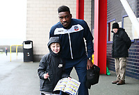 Bolton Wanderers' Sammy Ameobi with young Bolton Wanderers' fan<br /> <br /> Photographer Leila Coker/CameraSport<br /> <br /> The EFL Sky Bet Championship - Bolton Wanderers v Fulham - Saturday 10th February 2018 - Macron Stadium - Bolton<br /> <br /> World Copyright &copy; 2018 CameraSport. All rights reserved. 43 Linden Ave. Countesthorpe. Leicester. England. LE8 5PG - Tel: +44 (0) 116 277 4147 - admin@camerasport.com - www.camerasport.com