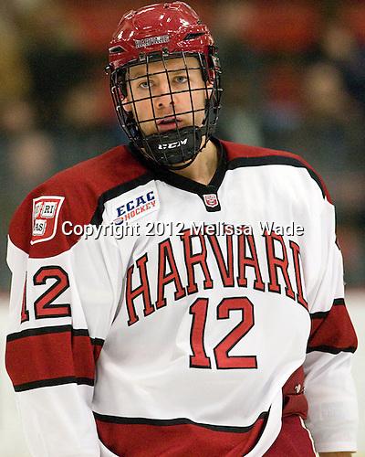 Brendan Rempel (Harvard - 12) - The Yale University Bulldogs defeated the Harvard University Crimson 5-1 on Saturday, November 3, 2012, at Bright Hockey Center in Boston, Massachusetts.