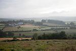 Grey overcast weather clouds hanging over moorland, Dartmoor national park, near Postbridge, Devon, England, UK