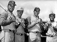 A's 1969 sluggers, Sal Bando, Danny Cater, Rick Monday, and Campy Campaneris. (1969 photo by Ron.Riesterer)