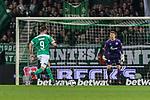 08.03.2019, Weserstadion, Bremen, GER, 1.FBL, Werder Bremen vs FC Schalke 04<br /> <br /> DFL REGULATIONS PROHIBIT ANY USE OF PHOTOGRAPHS AS IMAGE SEQUENCES AND/OR QUASI-VIDEO.<br /> <br /> im Bild / picture shows<br /> Martin Harnik (Werder Bremen #09) mit Torschuss und Treffer zum 4:2 Endstand gegen Alexander N&uuml;bel / Nuebel (FC Schalke 04 #35), <br /> <br /> Foto &copy; nordphoto / Ewert