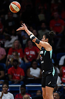 Washington, DC - August 25, 2019: New York Liberty guard Kia Nurse (5) connects on a three pointer during second half action of game between the New York Liberty and the Washington Mystics at the Entertainment and Sports Arena in Washington, DC. The Mystics defeated New York 101-72. (Photo by Phil Peters/Media Images International)