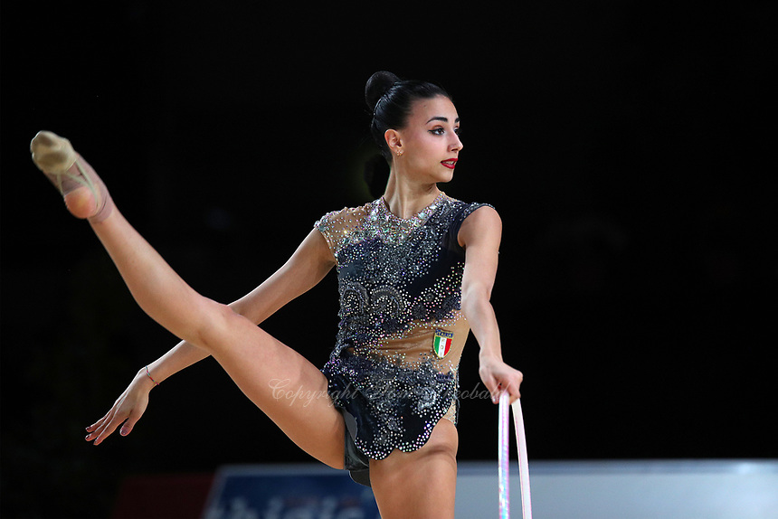 Alissia Russo of Italy performs at Thiais Grand Prix near Paris on March 24, 2018.