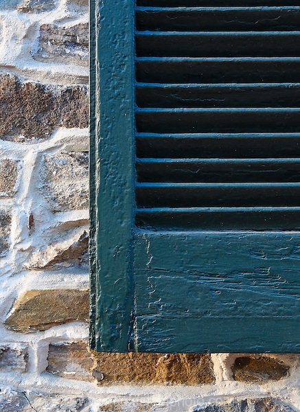 Green window shutter detail. Leesburg Virginia.