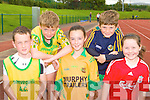 David Gleeson, Cathal Collins, Shona Gleeson, Ronan Collins and Rachel Fitzgerald Gneeveguilla AC at the Gneeveguilla AC open sports day in An Riocht Castleisland on Saturday